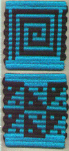[tablet-woven double-faced mug rug with alternating thick and thin wefts]